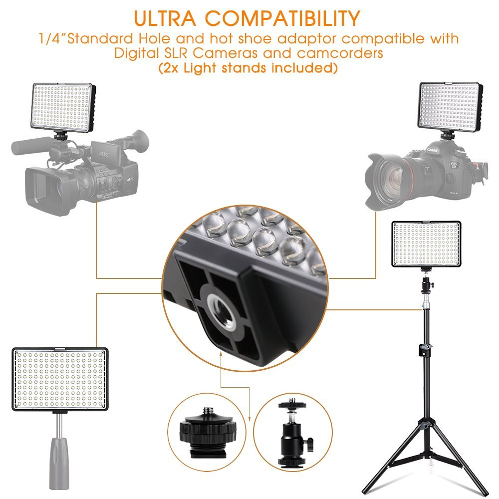 Capsave TL-160S 4 juegos de luz de vídeo LED iluminación fotográfica 5600K CRI85 Luz de estudio para YouTube sesión de fotos Panel de lámpara LED - 3