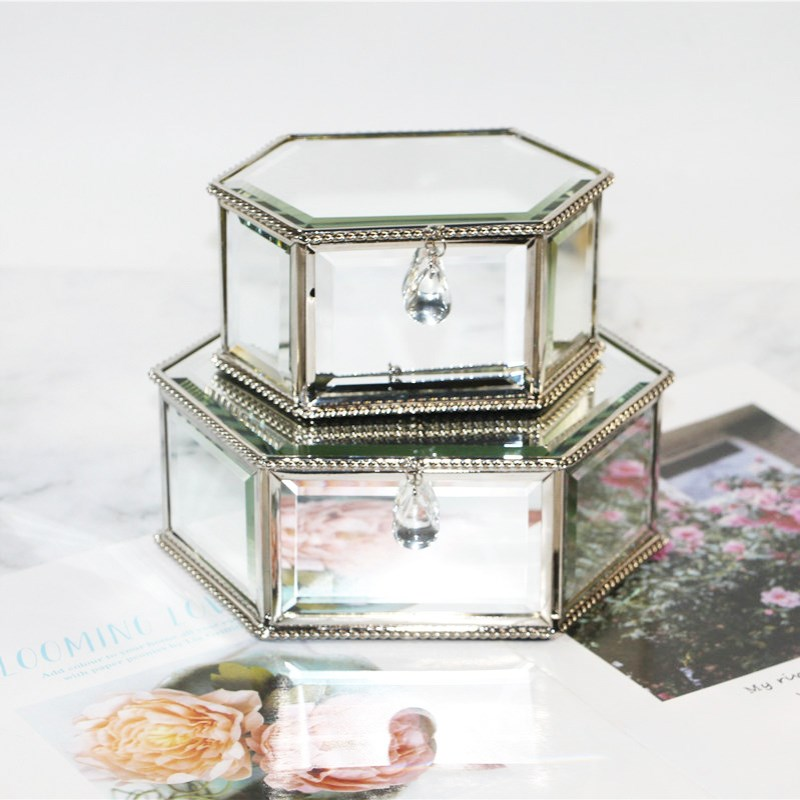 Jewelry-Box Mirror Decoration Glass Creative European Gift Hexagonal Simple