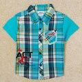baby boys t shirt children boys fashion plaid turn-down collar short sleeves cotton t shirt Nova kids new arrive clothes C5082D