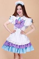 Shanghai Histoire Japonais violet chat griffe maid dress tenues 5 en 1 set effectuer robes Serveuse tablier dress cosplay costume