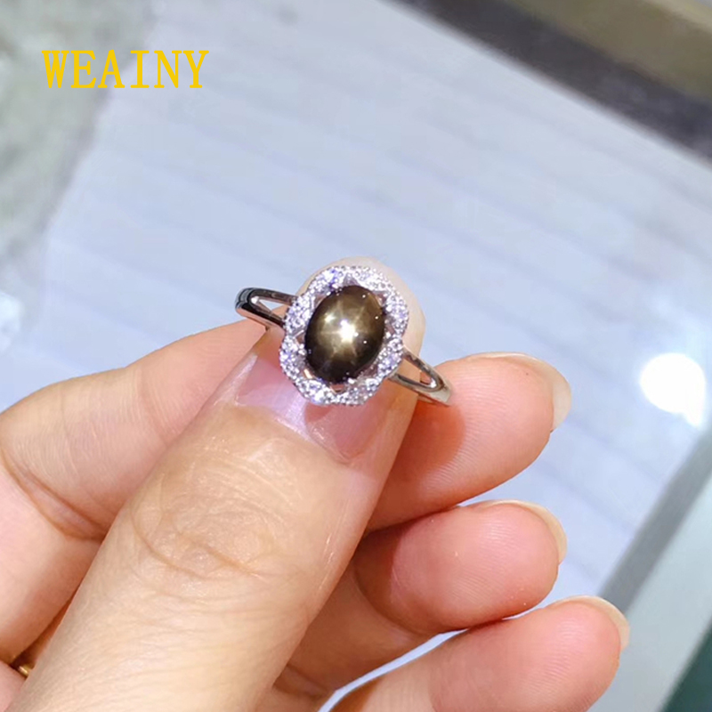 WEAINY Natural Star Sapphire Elegant Ring, Genuine S925 Sterling Silver,Lady's Gemstone Party Anniversary Premium Jewelry