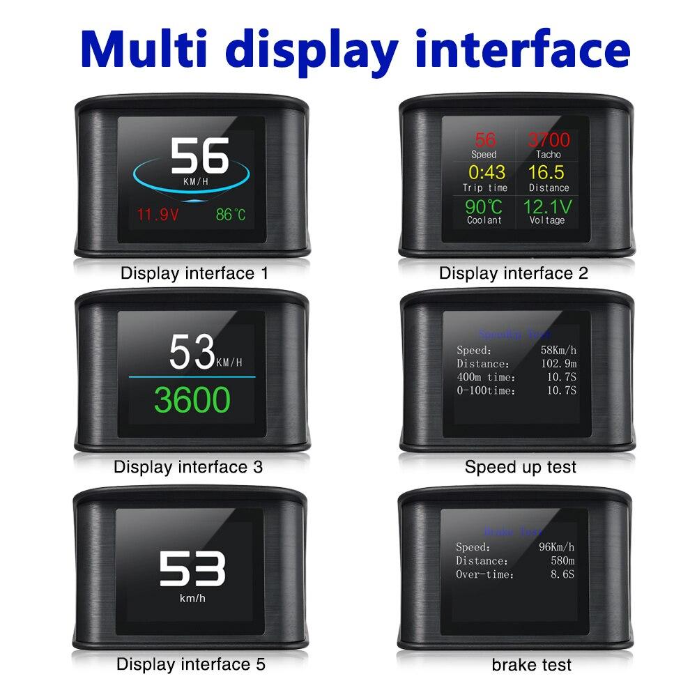 Image 2 - Geyiren P10 OBDII автомобиль поездки бортовой компьютер T600 Автомобильный цифровой GPS OBD2 OBD Спидометр дисплей Температура воды измеритель об/мин-in Проекционный дисплей from Автомобили и мотоциклы