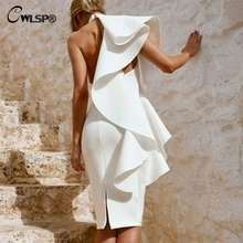 CWLSP White One Shoulder Knee-Length Summer Woman Dress Split Slim Dresses High Waist Backless vestidos verano 2018 QL4154