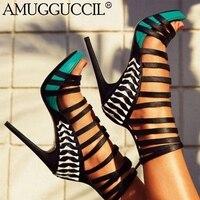 2018 New Plus Big Size 34 52 Blue Orange Green Zip Fashion Sexy High Heel Platform Summer Girl Female Women Lady Sandals L883