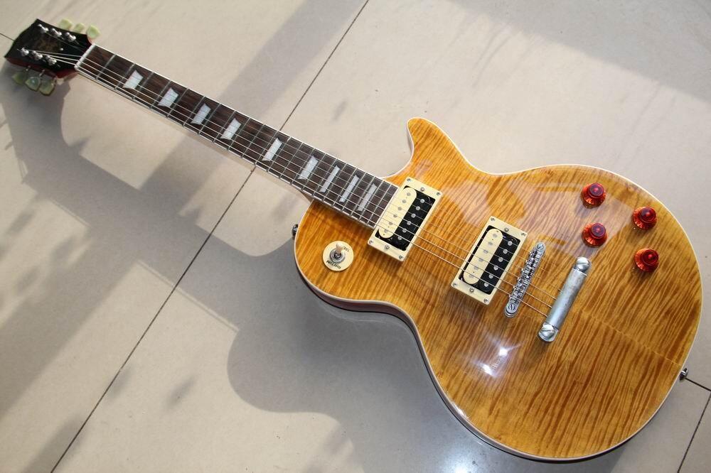 Nouvelle Arrivée Haute qualité Slash Signature guitare, tiger flame maple guitare électrique, slash guitarra dans la bière brun 130101