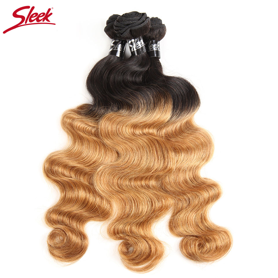 Sleek Ombre Brazilian Hair Body Wave 1b/27 Human Hair Weave Bundles 2 Tone Remy Hair Extensions 10 To 30 Inches
