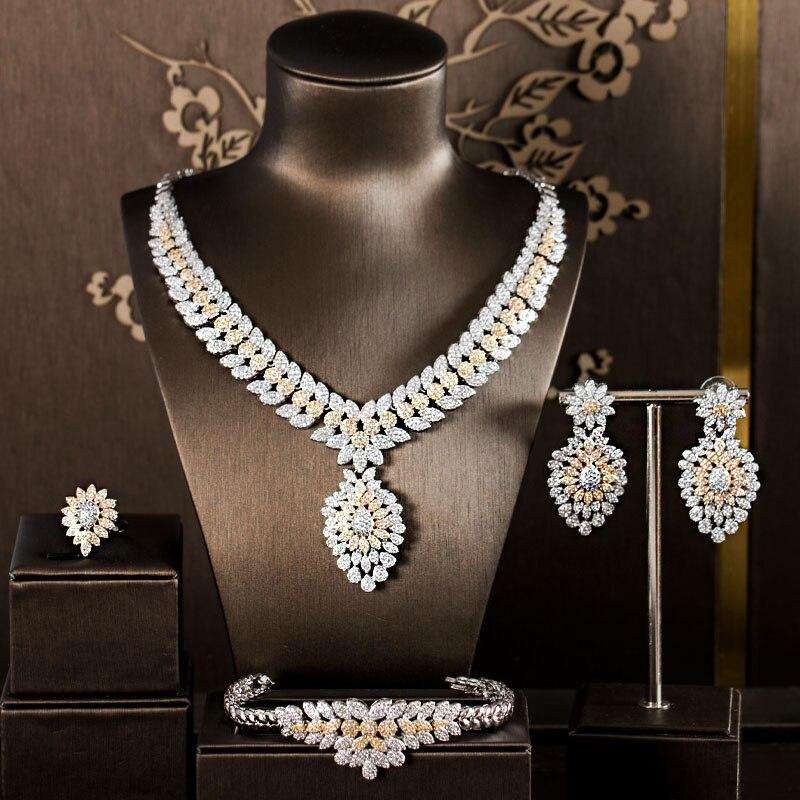 LAN PALAIS de luxe conception originale alliage de cuivre cubique bijoux zircone ensemble boucles d'oreilles collier bague bracelet livraison gratuite
