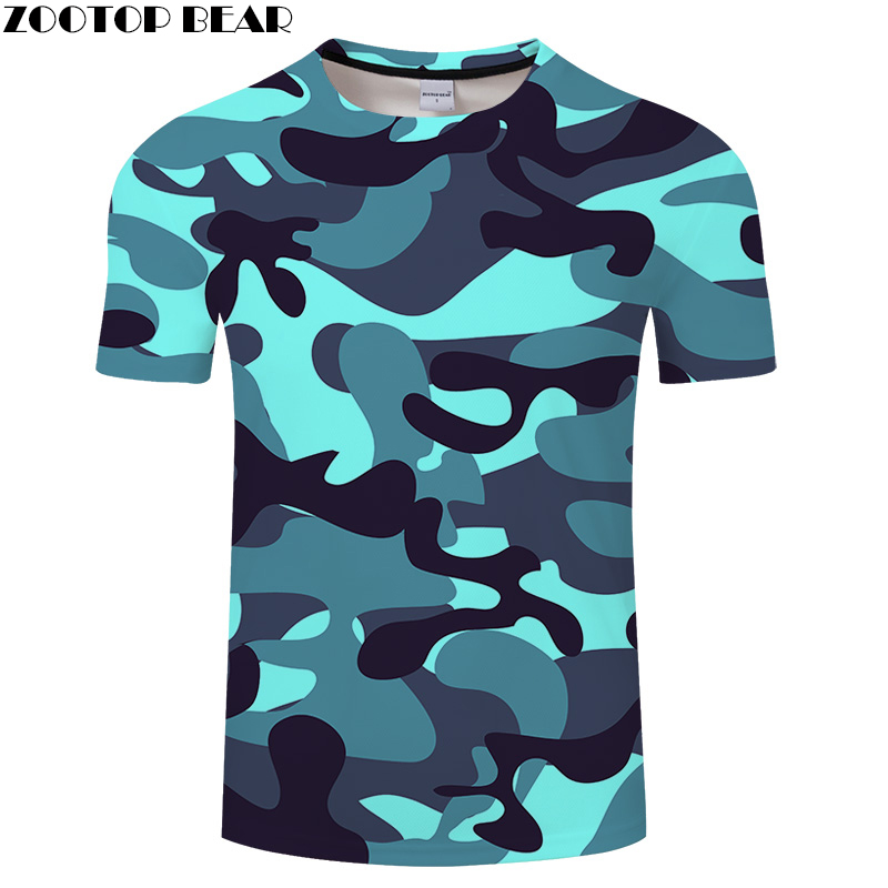 Shine Blue Camo 3D Print t shirt Men Women tshirts Summer Casual Short Sleeve O-neck Top&Tee 2018 Streatwear DropShip ZOOTOPBEAR
