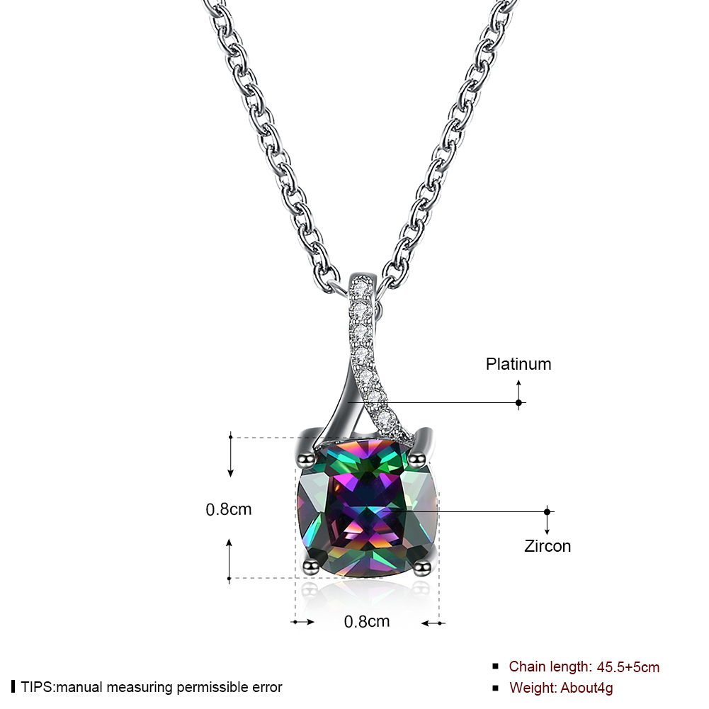 Square crystal necklace for women engagement gift luxury colorful silver color rainbow stone new fashion pendant jewelry