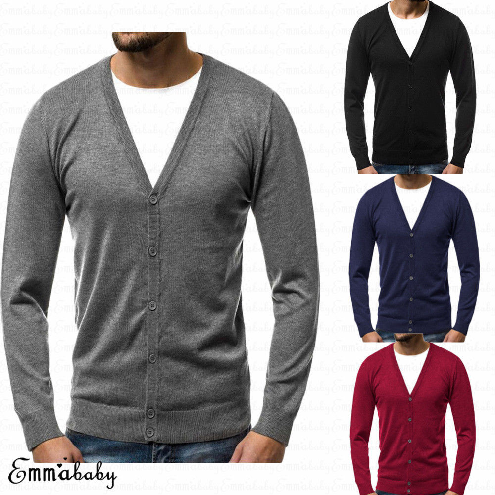 2018 Fall Winter Men's Long Sleeve Knitted V Neck Button Slim Fit Cardigan Sweaters Casual Knitwear Warm Top Plus Size M-3XL