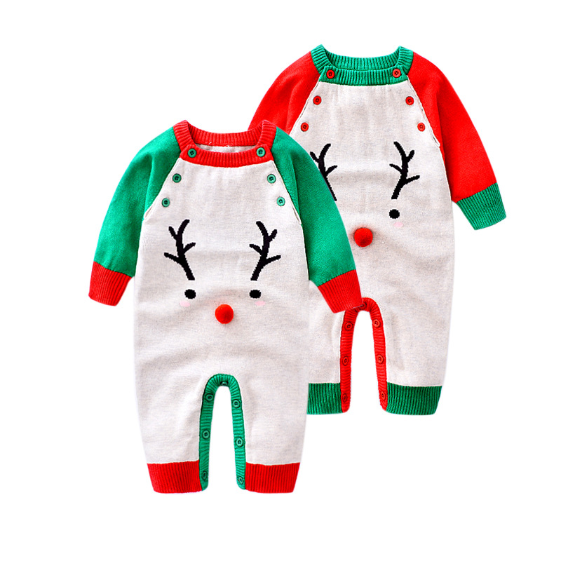 2017 Baby Christmas Romper Clothes New Winter Boys Girls rompers Long Sleeve Newborn Deer One Piece Roupas De Bebe Sweaters star romper spring autumn fashion newborn baby clothes infant boys girls rompers long sleeve coveralls roupas de bebe unisex