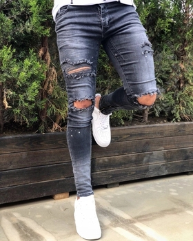 Ripped Men's jeans elastic denim trousers 1