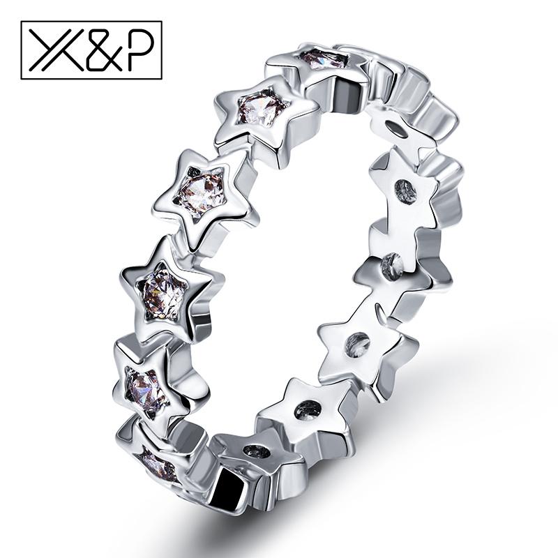 X&P Fashion Charm 925 Silver Shine Star Finger Rings for Women Girl Wedding Clear Sparkling Original Fine Ring Jewelry Gift