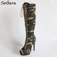 Sorbern Custom Calf Camouflage Knee High Winter Boots Women Platform Shoes High Heels Real Photo Plus Size Us4 15 Boots Female