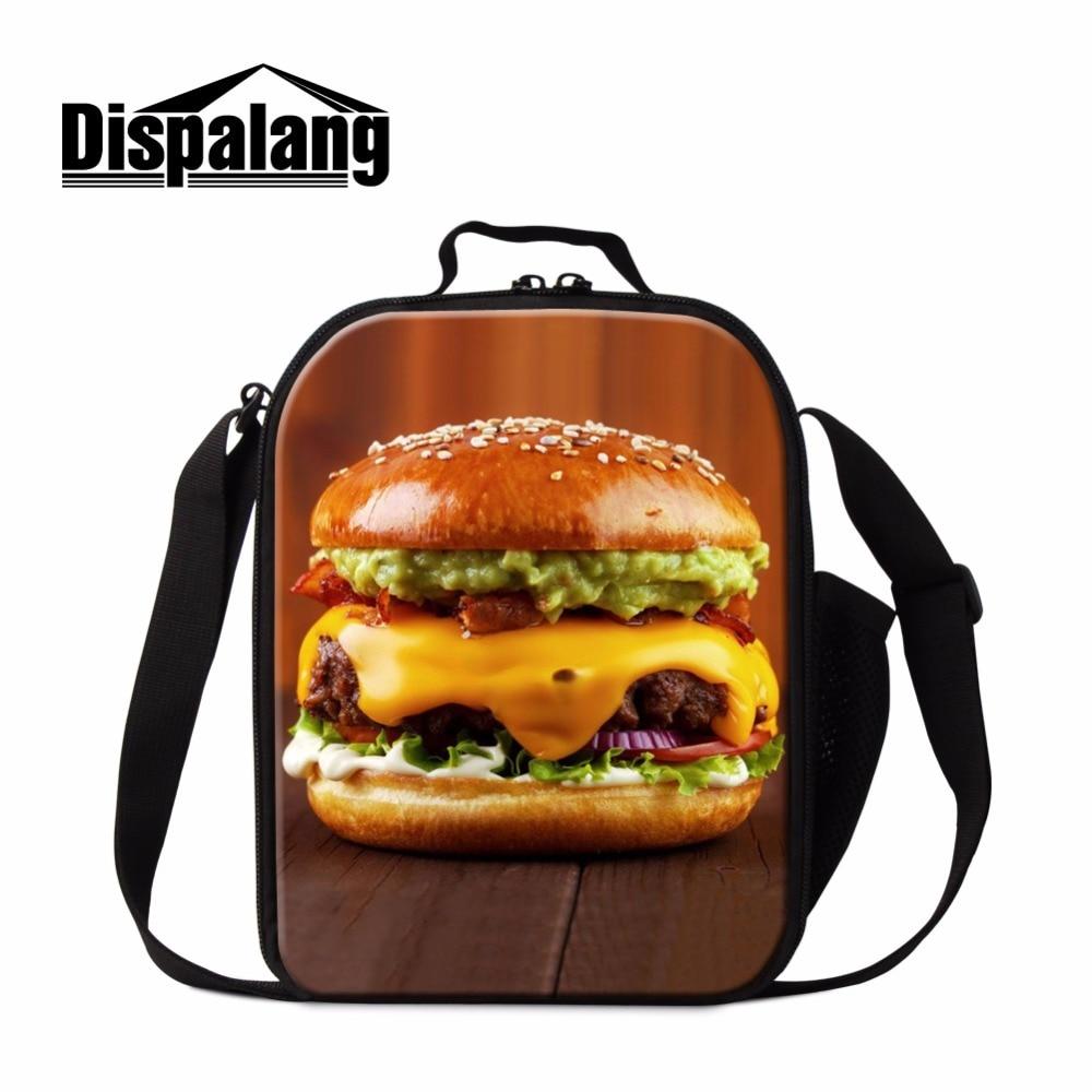 Dispalang Hamburger Printing Sac Isotherme Lunch Box Insulated Kids Lunch Bag Food Storage Tote Bags Fresh Keeping Bolsa Termica