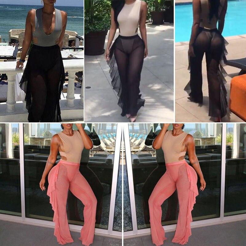 Thefound Hot Sexy Women Beach Mesh Ruffle Sheer   Wide     Leg     Pants   Trousers Bikini Cover Up