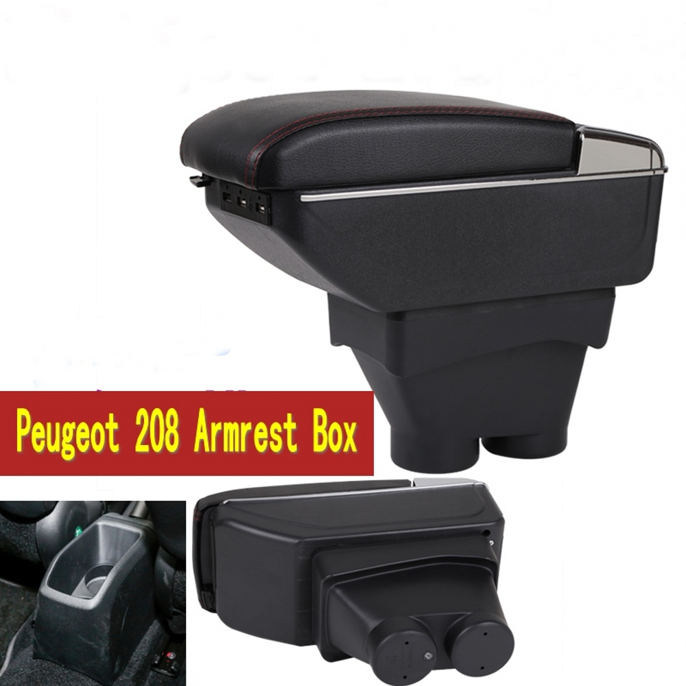 for peugeot 208 armrest box usb charging heighten double layer central store content cup holder. Black Bedroom Furniture Sets. Home Design Ideas