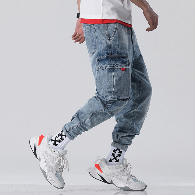 Japanese Style Vintage Designer Men Jeans Light Blue White Wash Loose Big Pocket Denim Cargo Pants Homme Hip Hop Harem Jeans Men