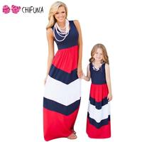 Fashion Mom Kids Couple Look Stripe Patchwork Dress Family Matching Outfit Clothes Dress Mother Daughter Match