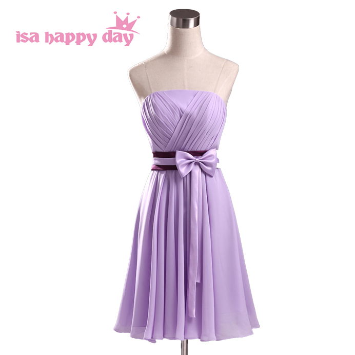 girls strapless elegant chiffon a line   cocktail   and party   dresses   sweet short   dress   lilac gowns 2019 with flowers H1951