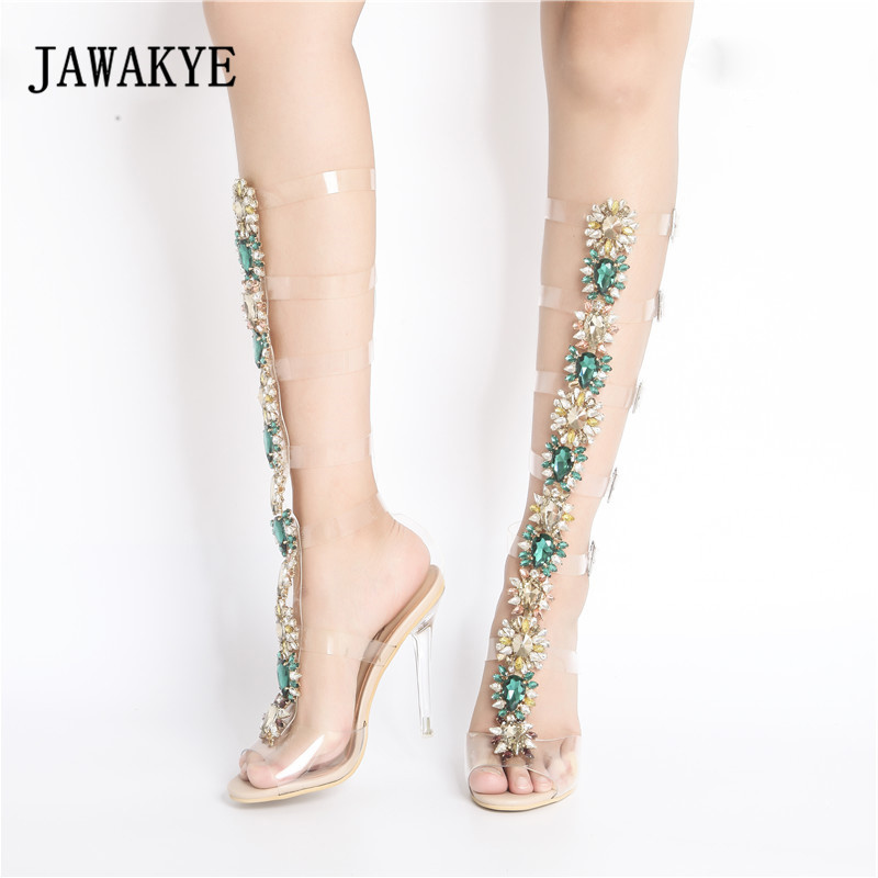 2018 Sexy Pvc Transparent Shoes Woman Peep Toe T-strap Rhinestone Diamond  Clear High Heels Knee Boots Woman Gladiator Sandals 814b3df59ed2