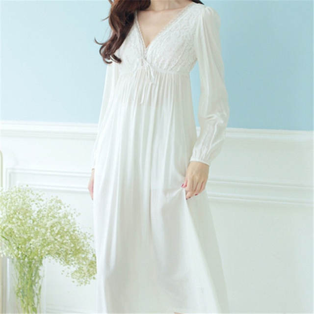 179194fd8743 Autumn Vintage Nightgowns V-neck Ladies Dresses Princess White Sexy  Sleepwear Lace Home Dress Comfortable