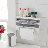 3 In 1 Plastic Wall Mounted Paper Towel Holder And Spice Rack With Wrap Foil Dispenser