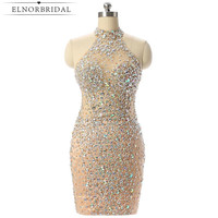 Luxury Champagne Short Prom Dresses Mermaid 2017 Beading Crystal Imported Party Dress Vestido Formatura Evening Gowns