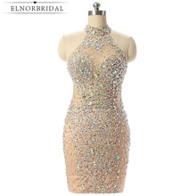 ФОТО  Champagne Short Prom Dresses Mermaid  Beading Crystal Imported Party Dress Vestido matura Evening Gowns