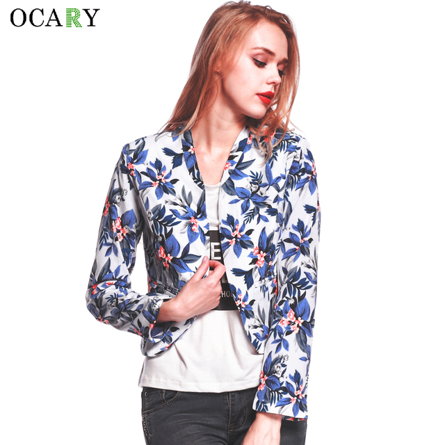 OCARY Brand Jacket Floral Balzer For Women Spring Long Sleeve Blazers Print Campera Mujer 2016 Fashion Suit Plus Size Ladies Top