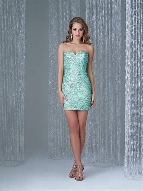 231cd0a1ccbd Mint Green Sheath Tight Homecoming Dresses With Embroidery Beading Off The  Shoulder Mini Prom Cocktail Graduation Party Gown