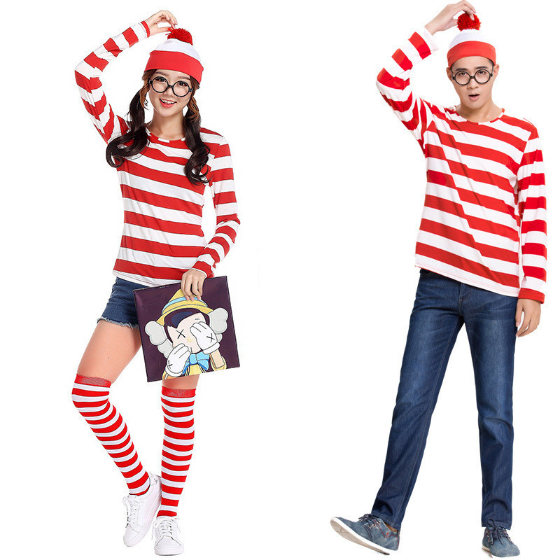 Adults Mens Ladies Wally Wenda Waldo Character Costume Red White Outfit Book Week Fancy Dress Shirt Hat Glasses