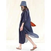 IRINAW112 Новое поступление Лето 2018 женские повседневные свободные длинные шелковые лен полоса лоскутное купро с подкладкой платье темно синий