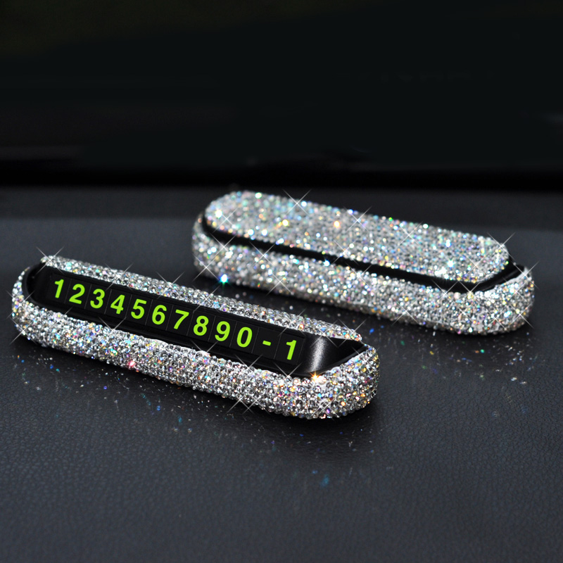 Diamond Crystal Hideable Temporary Car Parking Card Phone Number Card Plate Telephone Number Card Rhinestones Car Stickers