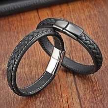 Classic 19cm,21cm Size Choose Genuine Leather Stainless Steel Magnetic Buckle Men Women Bracelet Fashione Charm