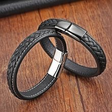 Classic 19,21,23cm Size Choose Genuine Leather Stainless Steel Magnetic Buckle Men Women Leather Bracelet Fashion Charm Bracelet(China)