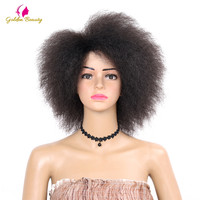 Golden Beauty Kinky Curly Short Afro Wigs 6inch Nature Black Synthetic Wig For Women 90g