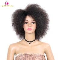 Golden Beauty Perwersyjne Kręcone krótkie Afro Peruki 6 inch natura czarny Syntetyczny Peruka Dla Kobiet 90g