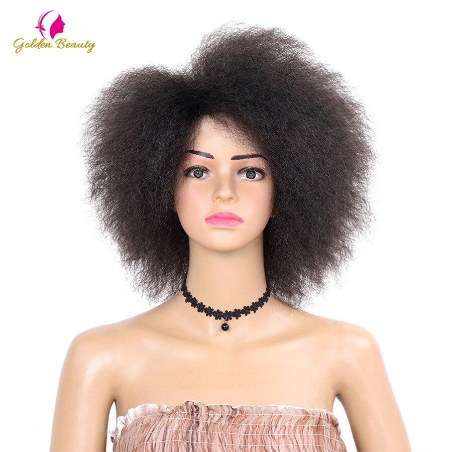 Golden Beauty Riccio crespo brevi Parrucche Afro 6 inch natura nero Parrucca Sintetica Per Le Donne 90g