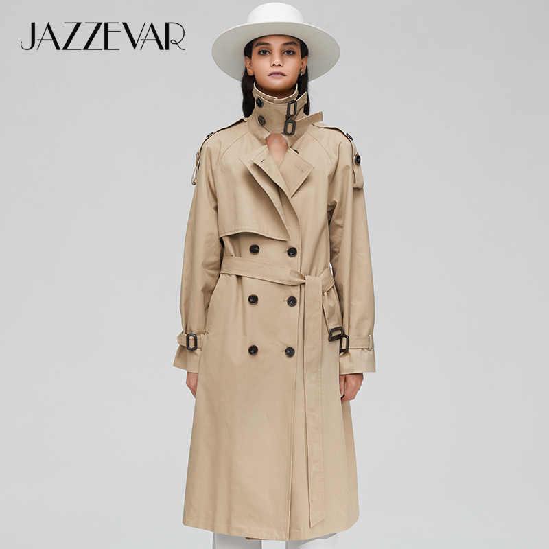 JAZZEVAR 2019 Nieuwe collectie herfst top trenchcoat vrouwen double breasted lange bovenkleding voor lady hoge kwaliteit overjas vrouwen 9003