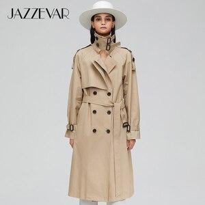 Image 4 - Jazzevar 2020 Nieuwe Collectie Herfst Top Trenchcoat Vrouwen Double Breasted Lange Bovenkleding Voor Lady Hoge Kwaliteit Overjas Vrouwen 9003