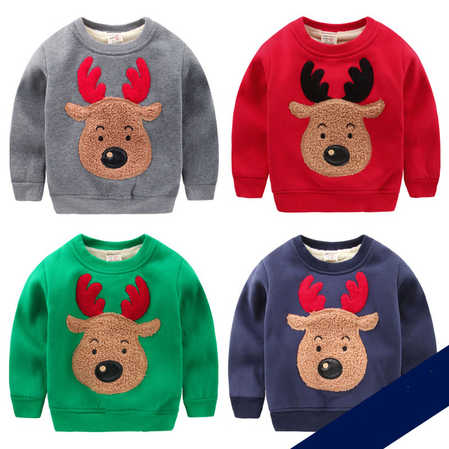 Fashion winter boys girls Hoodie children's Christmas  deer pattern Baby cartoon T-shirt  tops clothes With soft nap gift