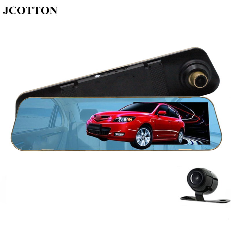 JCOTTON 4 3 1080P 170 degree Super Wide Angle HD Rear View Blue Mirror Dual Lens