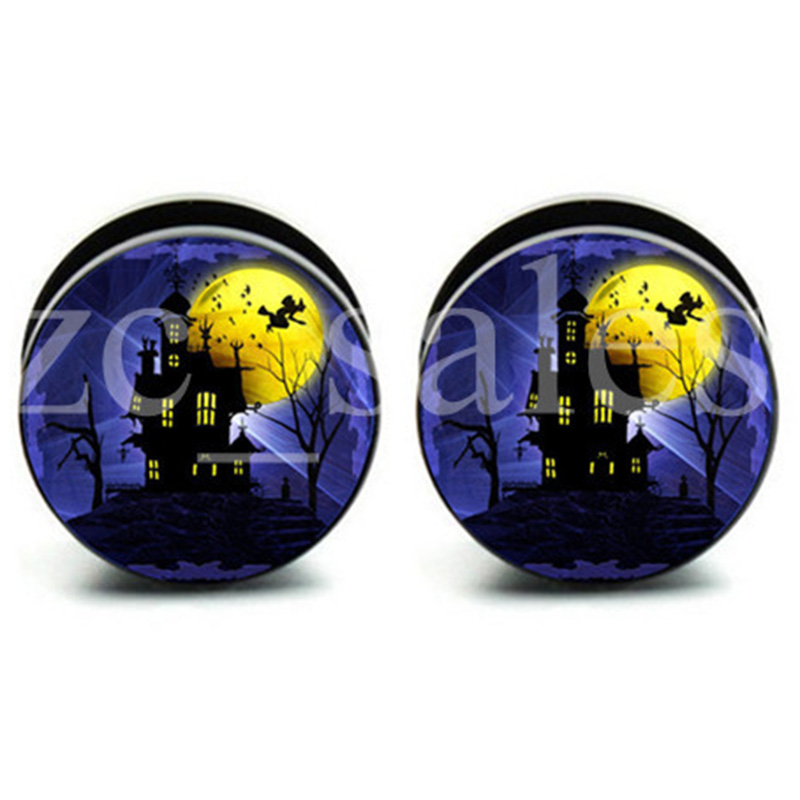 1 pair Halloween House Plugs ear plug gauges tunnel acrylic screw flesh tunnel body piercing jewelry