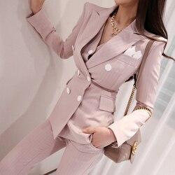 2019 Office Dames Gestreepte 3 Stuks Set Double Breasted Slanke Blazer & Patchwork Tops & Hoge Taille Broek Vrouwen Broek suits