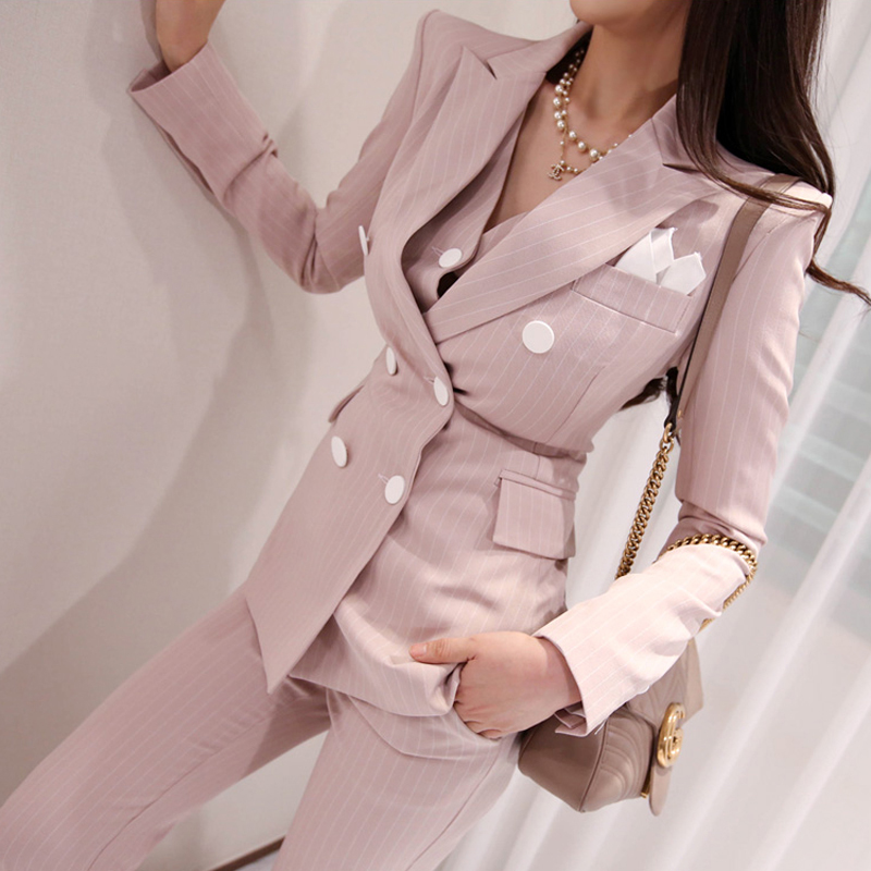 2019 Office Ladies Striped 3 Pieces Set Double Breasted Slim Blazer & Patchwork Tops & High Waist Pants Women Pant Suits-in Pant Suits from Women's Clothing    1
