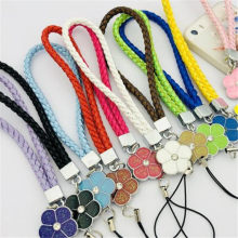 Mobile Phone Straps Rope Clover Flower Short Hand Rope Squishy For Key Lanyard Neck Lanyard Neckband anti-stress(China)