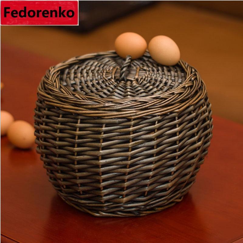 Pastoralinės austi pintinių rotango kiaušinių krepšiai su - Organizavimas ir saugojimas namuose - Nuotrauka 3