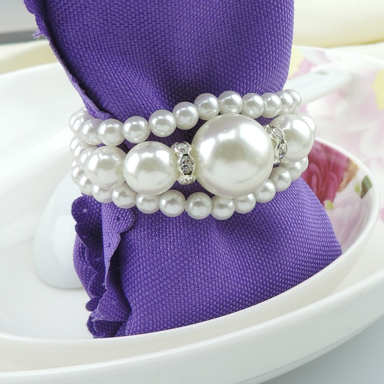 ٩(^‿^)۶50pc New Pearl Napkin Ring/Wrap Serviette Holder Wedding ...
