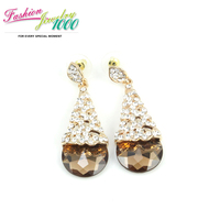 2013 New Fashion Brown And Blue Crystal Drop Earrings Vintage Jewelry For Women Free Shipping
